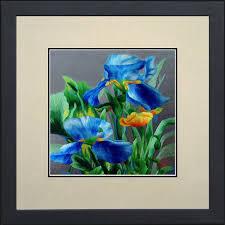 Hanging Art King Silk Art 100 Handmade Embroidery Multiple Framed Blue Irises