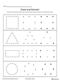 trace and connect dots to draw shapes square triangle rectangle