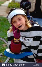 age 14 in prisoner costume at anoka halloween festival parade