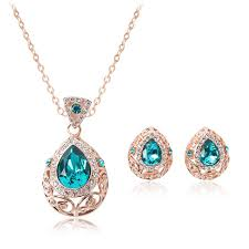 dimond drop 2017 2016 new jewelry set diamond drop necklace earrings set
