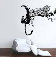 Leopard Home Decor Tree Anima Leopard Cheetah Wall Decal Sticker Kids Baby Living