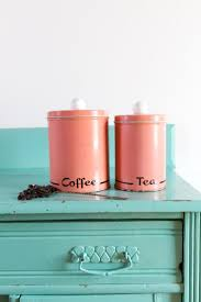 vintage pink coffee and tea tin kitchen canisters vintage