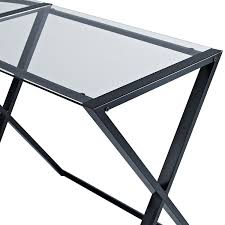 amazon com we furniture elite soreno glass corner computer desk
