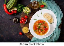 cuisine light minestrone big soup soup with many ingredients a dish
