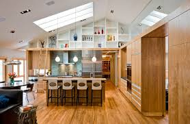 high ceiling recessed lighting sloped ceiling lights kitchen modern with wood flooring open kitchen