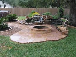Outdoor Slate Patio Fire Pit Landscaping With Tile Paths Fire Pit Landscaping