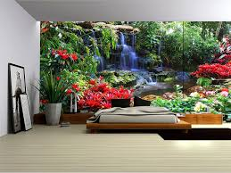 Wall Mural Sunrise In A Forest Wall Paper Self Adhesive Forest Waterfall And Flowers Wallpaper Mural Amazon Com