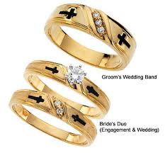 christian wedding bands cross diamond religious wedding rings in yellow gold 1019