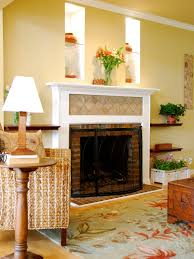 brick fireplace living room eclectic with decorative pillows table