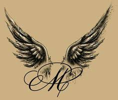 angel winged m tattoo design u003c u003c similar to a tattoo i plan to