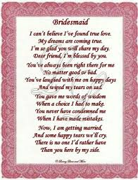 asking of honor poem thankyou poem to bridesmaid graduation poem