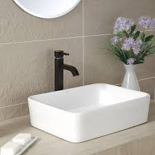 kraus kcv 121 white rectangular ceramic bathroom sink vessel