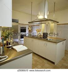 kitchen island extractor fans stock photography of stainless steel worktops in modern white