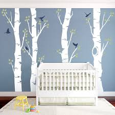 Tree Decals Nursery Wall by Wide Birch Trees Wall Decal