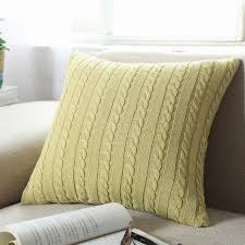 Pillow Covers For Sofa by Rainbow Solid Colour Cushion Covers Knitting Wool Pillow Cover