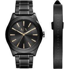 leather armani bracelet images Gents armani exchange leather bracelet gift set watch ax7102 jpg