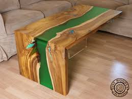live edge table top live edge green waterfall river coffee table with transparent leg