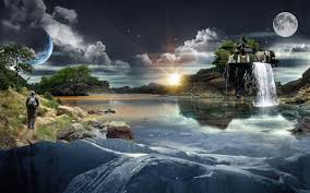 House Planet by Water River Island House Waterfall Man Elephant Sky Moon Planet