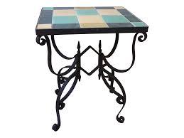 mid century wrought iron u0026 tile side table chairish