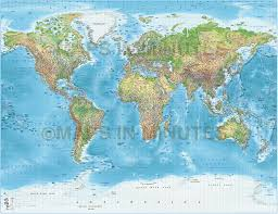 Simple Vector World Map by Digital Vector Political World Map With Relief Terrain For Land