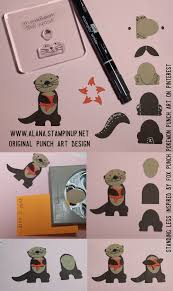 stampin up halloween stamps sea otter punch art using foxy friends stamp set u0026 foxy builder