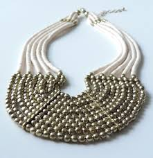 handmade statement necklace images Handmade cream gold bead statement necklace by spice the JPG