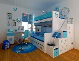 bedroom white and blue smart kids bunk bed with storage ladder