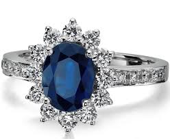 model cincin blue safir european engagement ring oval blue sapphire ring diamond halo in