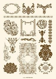 and rococo ornament set vector