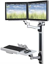 monitor and keyboard arm desk mount dual screen standing wall mount workstation 2 24 inch tvs