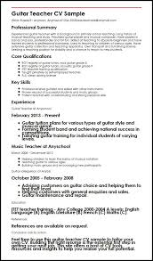 Sample Of Resume For Teachers by Guitar Teacher Cv Sample Myperfectcv