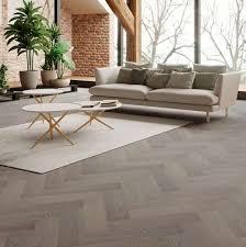 Oak Truffle Grey Herringbone Engineered Parquet - Herringbone engineered wood flooring