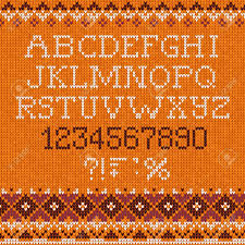 pattern and numbers handmade knitted pattern with font alphabet letters and numbers