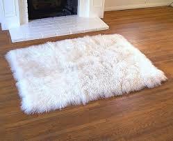 White Fur Area Rug Rugs Tibetan Wool Throw Rug White