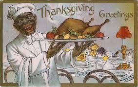 thanksgiving greetings black serving turkey postcard 14 95
