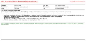 Supervisor Job Description Resume by Coal Yard Supervisor Job Title Docs