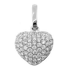 white gold necklace diamond images 0 86ct pave set diamond heart pendant necklace 18k white gold jpg
