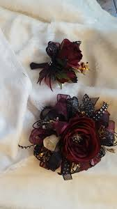 and black corsage burgundy and black prom corsage set from hen house designs www