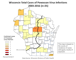 Wisconsin Counties Map by Powassan Virus Data 2003 2016 Wisconsin Department Of Health