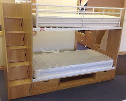 Staircase Bunk Bed Uk Oak Finish Bunk Beds With Stairs Sleepland Beds