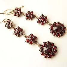 garnet earrings antique garnet earrings on 18ct gold hooks stunning flower