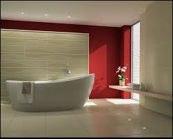 fantastic bathroom ideas with red stained wall interior and big