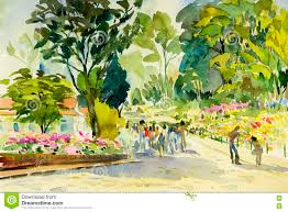 Landscape Flower Garden by Watercolor Painting Original Landscape Colorful Of Flower Garden