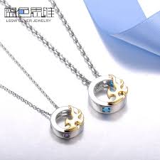 gold sterling silver necklace images Blue sweet couple necklaces gold phoenix circle pendants set jpg