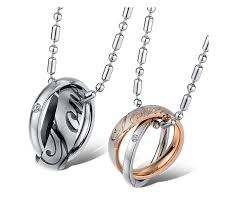 ring pendants necklace images Yellow chimes love engraved ring style two piece couple pendant jpg
