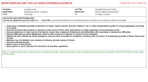 trolley cv work experience samples