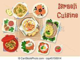 israeli cuisine traditional dinner dishes icon israeli vector