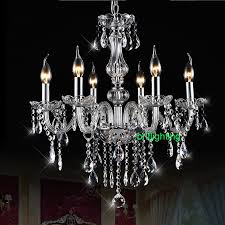 Crystal Chandelier Band Iron Pendant Chandelier Light 8 Arms E14 Led Bulb With Fabric
