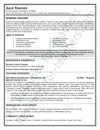 Reading Teacher Resume Spanish Teacher Resume Sample Teacher And Principal Resume