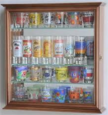 pint glass display cabinet mirror back and 4 glass shelves shot glass display case cabinet